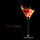 Tangerine Schnapps. Exotic Cocktail Splashing Out