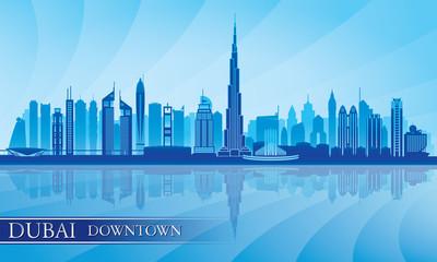 Dubai Downtown City skyline silhouette background