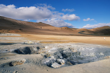 Hot Mud Pots and great landscape in the Geothermal Area Hverir,