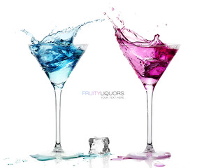 Martini Glasses with Splashing Fruity Cocktails. Template design