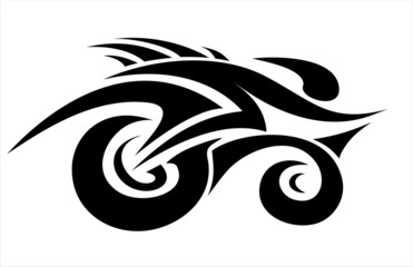 Abstract cyclist in tattoo style