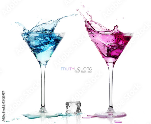 Plexiglas Cocktail Martini Glasses with Splashing Fruity Cocktails. Template design