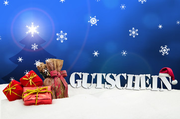Christmas voucher Gutschein gifts snow blue