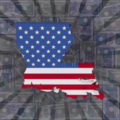 Louisiana map flag on dollars sunburst illustration