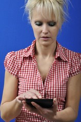 Woman with an e-book reader