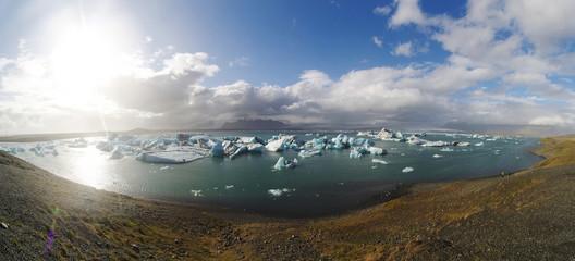 Jokulsarlon Glacial Lagoon near Vatnajokull panorama