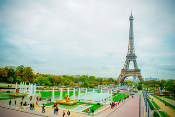 Eiffel Tower with city park in France
