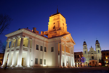 City hall in Minsk (Belarus) at evening