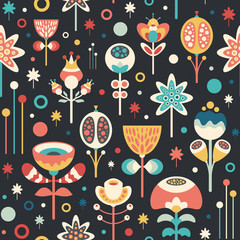Seamless pattern with colorful flowers on dark background.