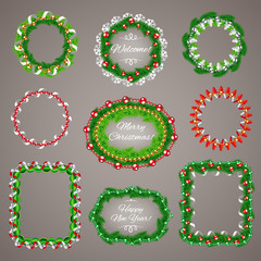 Christmas Garlands Frames with a Copy Space Set