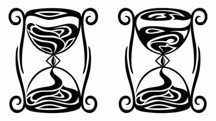 hourglass and clepsydra, black tribal vector illustration