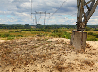 Transmission tower through the valley