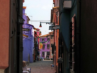 Burano Street with houses family colorful, Burano, near Venice