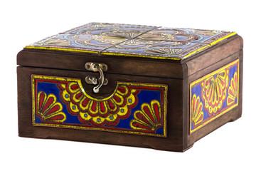 Photo of wooden brown casket