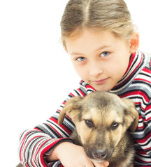 portrait of a little girl and a dog on a white background