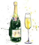 champagne bottle and glass - 73423793