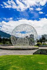 metal sphere sculpture in park Quito Ecuador South America