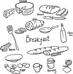 Breakfast doodle set