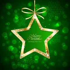 Christmas star with diamonds on green background