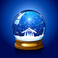 Christmas snow globe with Christian scene