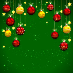 Green Christmas background with baubles