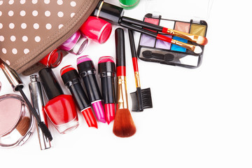 Make up bag with cosmetics