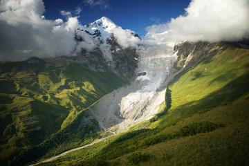 Snowy peak with glacier