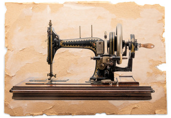 cartolina con macchina da cucire vintage
