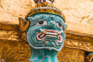 Blue Giant Guardian in Wat Phra Kaew temple ,bangkok,thailand