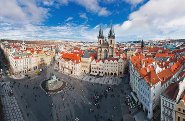 Wide angle panorama of central square in Prague, Czech Republic