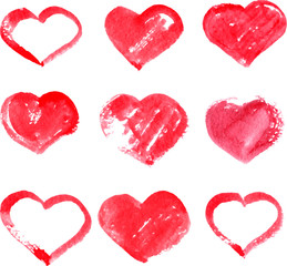 set of different red heart painted by watercolor