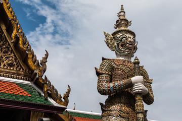 White Giant Guardian in Wat Phra Kaew temple ,bangkok,thailand