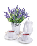 tea for two and lavender flowers isolated on white - 73425585