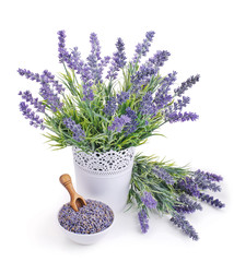 pot of lavender and bowl with dried flowers