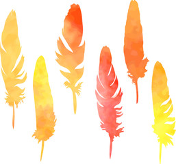 set of plumes in watercolor