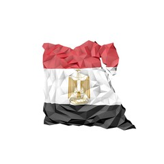Low Poly Egypt Map with National Flag