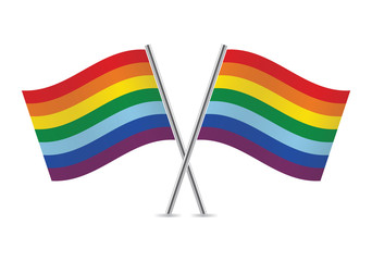 Rainbow Gay flags. Vector illustration.