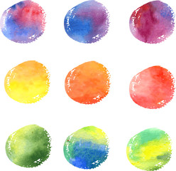 colored circles painted by watercolor