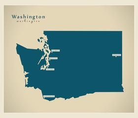 Modern Map - Washington USA