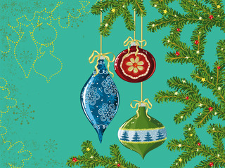 Christmas decorations hanging on the Christmas tree branches