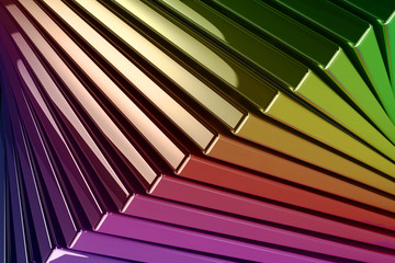 Background of Stacked Metallic Reflective Rainbow Colored Square