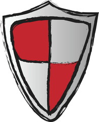 doodle red shield,