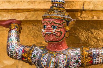 Red Giant Guardian in Wat Phra Kaew temple ,bangkok,thailand