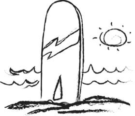 doodle surfboards on beach