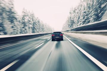 Blurry car high speed driving