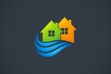 home realty water supply abstract logo