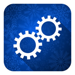 gears flat icon, christmas button, options sign