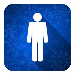 male flat icon, christmas button, male gender sign