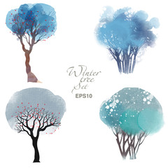 Tree watercolor set
