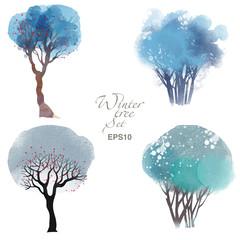 Tree watercolor set